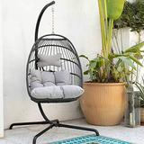 Swing Egg Chair with Stand Indoor Outdoor Wicker Rattan Patio Basket Hanging Chair with UV Resistant Cushions Aluminum Frame 350lbs Capaticy for Bedroom Balcony Patio (Grey)