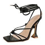 ZiSUGP Block Heel Sandals For Women Wide Width Block Heel Sandals For Women 3 Inch Heels Girls High Heels Nude Heels For Women(Black 08,Size 7.5)