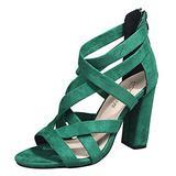 ZiSUGP Black High Heel Sandals For Women Chunky Heel Sandals For Women Black Open Toe Heels For Women Girls High Heels Nude Heels For Women(Green,Size 9)