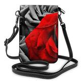 Black White And Red Roses Printed Small Cell Phone Purse Crossbody Cell,Women For Adjustable Shoulder Strap With Card Slots