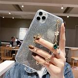 Luxury Bracelet Lanyard Phone Case for iPhone 4 5 6 7 8 4S 5S 5C 5SE 6S Plus 11 12 Mini X XS XR Pro Max TPU Cover,Black,for iPhone 4S