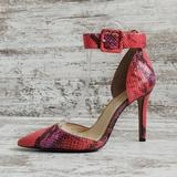 Jessica Simpson Shoes | Jessica Simpson Coral Snakeskin Ankle Strap Heel | Color: Black/Pink | Size: 6.5