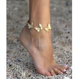 YUSHI Women's Anklets GOLD - 14k Gold-Plated Butterfly Anklet