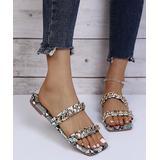PAOTMBU Women's Sandals WHITE - White Snake-Print Chain-Strap Sandal - Women