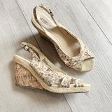 Anthropologie Shoes   Anthropologie Sychelle Peep Toe Floral Wedge Heels   Color: Brown/Cream   Size: 8.5