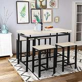 Merax 5 Pieces Dining, Counter Height Pub Table Set with 4 Chairs for Bar, Breakfast Nook, Kitchen Room or Patio, Beige