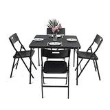 Portable Foldable Camping Table Chair Set, 5 Pieces Folding Table and Chair Set Space Saving Foldable 1 Square Table and 4 Chairs, Patio Furniture Set for Outdoor Garden Porch Balcony Lawn Picnic