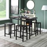 Merax 5 Pieces Dining, Counter Height Pub Table Set with 4 Chairs for Bar, Breakfast Nook, Kitchen Room or Patio, Espresso