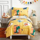 Aikasy 4 Piece Toddler Bedding Set, 100% Cotton, Yellow & Dinosaur Style for Kids Boys n Girls, Includes Comforter, Flat Sheet, Fitted Sheet and Reversible Pillowcase - Ultra Soft and Breathabl