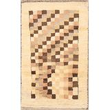 """Rug Source One-of-A-Kind New Gabbeh Modern Tribal Hand-Knotted 2x4 Beige Wool Area Rug (3' 11"""" X 2' 6"""")"""