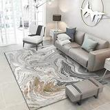 Contemporary Area Rugs Modern Abstract Carpets for Living Room Silver Gold Marble Pattern Stylish Rugs for Bedroom Coffee Table Floorcover Indoor Rugs Guestroom Playroom Runner Rugs 6X8ft G
