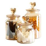 YY Vintage Style 3-Pack Amber Glass Food Storage Jars Canister Crystal Candy Jar, Clear Glass Apothecary Jar Wedding Candy Buffet Jar Food Jar (3-Pack Crystal Clear)