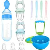 11 Piece Food Feeder Baby Teething Pacifiers Mash and Serving Bowl Silicone Food Dispensing Spoon 4 Soft Silicone Baby Spoons for Toddler First Stage Feeding Set