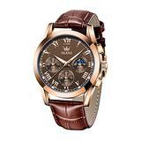 Mens Watches Leather Brown Analog Quartz Chronograph Elegant Casual Fashion Watch Moon Calendar Date Waterproof Luminous Sport Wrist Watch