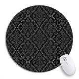 Round Mouse Pad Baroque Black Damask Vintage Floral Pattern Grey Scroll Antique Non-Slip Rubber Base Mouse Mat Gaming Mousepad for Computers