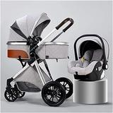 Chilechuan Anti-Shock Lightweight Baby Carriage with Baby Basket,Compact Buggy Strollers,3 in 1 Convenience Pushchair Stroller with Oversized Canopy/Easy One-Hand Fold (Color : Silver)
