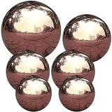 Moulding Outdoor Mirrors for Gardens,Gazing Ball Garden Sphere Ball Mirror Polished Hollow Ball Stainless Steel for Home Garden Ornament Decorations Rose Gold 6 pcs