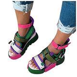 haoricu Platform Sandals for Women,Open Toe Gladiator Ankle Strap Sexy Platform Sandals Comfortable Flats Shoes