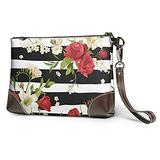 Black White Stripes Red Rose Flowers Clutch Purses Leather Handbag Wristlet Clutch Wallet Purses For Women