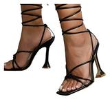 haoricu Women's Sandals Fashion Breathable Lace Up Dress High Heel Sandals Sexy Square Slip-On Toe Sandals