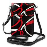 Small Cell Phone Purse For Women, Black Red White Printed Crossbody Phone Bag -Fits Most Smartphones,Credit Cards