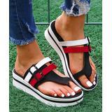 YASIRUN Women's Sandals Black - Black & Red Color Block Platform Sandal - Women