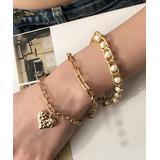 Lady Arya Women's Bracelets gold - Imitation Pearl & Goldtone Heart-Charm Station Bracelet Set