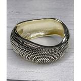 Alisha D Women's Bracelets SILVER - Silvertone Chain Link Hammered Hinge Bracelet
