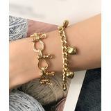 Lady Arya Women's Bracelets gold - Goldtone Heart Charm Bracelet Set