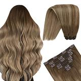 YoungSee Clip in Hair Extensions, Human Hair Clip in Extensions Double Weft Hair Extensions Real Hair Extensions Clip in Human Hair Balayage Lightest Brown with Dark Blonde 20in 7pcs 100g