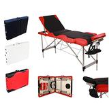 DERTHWER Massage bed Aluminum Tube Massage Bed SPA Fitness Massage Bed 3 Sections Folding Black And Red Edge
