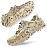 SOBASO Men's Water Shoes Women Barefoot Aqua Water Shoes Quick Dry Swim Shoes for Beach River Lake Sailing Beige