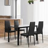 Latitude Run® 5 Pieces Dining Table Set For 4,kitchen Room Tempered Glass Dining Table, 4 Faux Leather Chairs Glass/Metal/Upholstered Chairs in Black