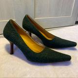 Gucci Shoes | Gucci Felted Wool Pointed Toe Stiletto Heels 7.5 | Color: Green | Size: 7.5
