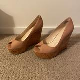 Nine West Shoes   Nine West Nude Peep Toe Cork Platform Wedges   Color: Cream   Size: 5.5