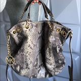 Michael Kors Bags | Michael Kors Snake Print Leather Bag | Color: Gold | Size: Os