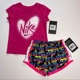 Nike Matching Sets | Nike Girls T-Shirt And Dri-Fit Shorts Set Outfit | Color: Black/Pink | Size: Various