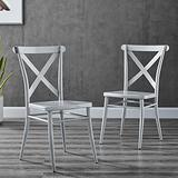 Modway Gear X-Back Metal Dining Side Chairs in Silver-Set of 2