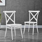 Modway Gear X-Back Metal Dining Side Chairs in White-Set of 2