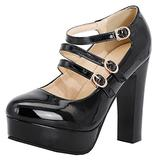 Meefit Women Patent Leather Mary Jane Chunky Heel Platform Strappy Pumps High Heel Shoes(Black,US7)