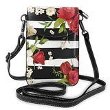 Small Crossbody Bags Black White Stripes Red Rose Flowers Cell Phone Purse Women Pu Shoulder Bag Wallet Purses Handbag