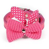 DiletvStore XS-M1pcs Cute knit bow adjustable leather necklace puppy collars cat collars leads collars