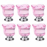 6pcs Pink Crystal Rose Shape Decorative Drawer Pull Handle for Furniture Cabinet Closet Dresser Cupboard Wardrobe Kitchen & Baby Kid's Children's Furniture Decor