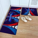 Kitchen Rug Set 2 Piece PVC Leather Floor Mat Blue White Red Eiffel Tower with Balloon French National Day Waterproof Non-Slip Kitchen Mats and Rugs Standing Desk Mat Set-