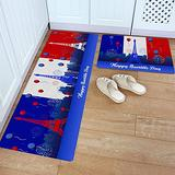 Kitchen Rug Set 2 Piece PVC Leather Floor Mat French National Day Eiffel Tower Balloon Blue White Red Waterproof Non-Slip Kitchen Mats and Rugs Standing Desk Mat Set-
