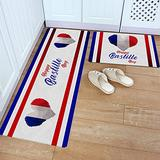 Kitchen Rug Set 2 Piece PVC Leather Floor Mat Happy Bastille Day Watercolor Heart Blue White Red French National Day Waterproof Non-Slip Kitchen Mats and Rugs Standing Desk Mat Set-