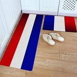 Kitchen Rug Set 2 Piece PVC Leather Floor Mat French National Day Flag Blue White Red Stripes Waterproof Non-Slip Kitchen Mats and Rugs Standing Desk Mat Set-