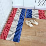 Kitchen Rug Set 2 Piece PVC Leather Floor Mat French National Day Flag Blue Red White Waterproof Non-Slip Kitchen Mats and Rugs Standing Desk Mat Set-