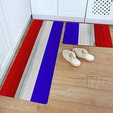 Kitchen Rug Set 2 Piece PVC Leather Floor Mat French National Day French Flag Blue White Red Stripe Rustic Old Wooden Waterproof Non-Slip Kitchen Mats and Rugs Standing Desk Mat Set-
