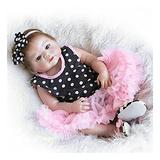 ANHH Reborn Baby Doll Soft Simulation Silicone Vinyl(23in58cm) Beautiful Full Simulation Silicone Baby Girl Reborn Baby Doll In Dots Pattern Dress